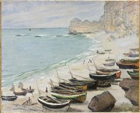 Barche sulla spiaggia di Etretat